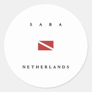 Saba Netherlands Scuba Dive Flag Round Stickers