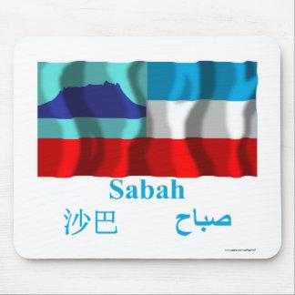 Sabah waving flag with name mouse pad