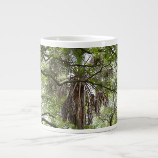 sabal palm through live oak branches tree giant coffee mug