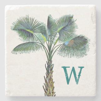 Sabal Palm Tree Monogram Coastal Home Stone Coaster