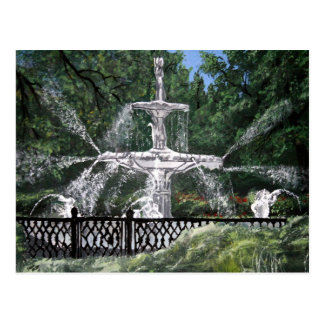 Sabana Georgia GA de la fuente de agua del parque  Postal