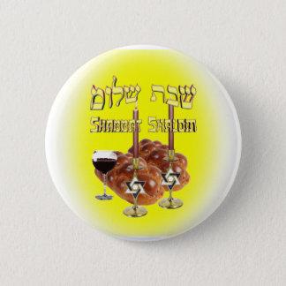 Sabbath Table, Shabbat Shalom Pinback Button