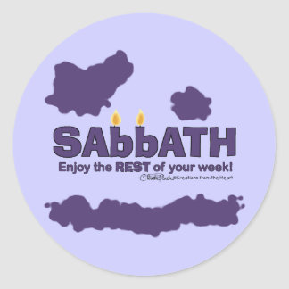 Sabbath with Candles- Enjoy the REST of Your Week Classic Round Sticker