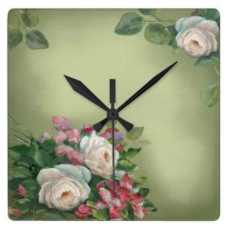 Sabby Chic Vintage Roses Square Wall Clocks