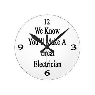 Sabemos que usted hará a un gran electricista reloj redondo mediano