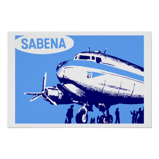 Sabena Airlines retro vector art Poster