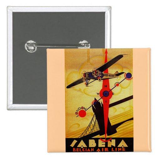 Sabena Art Deco Compass 2 Inch Square Button