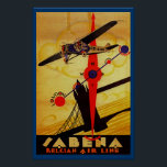 """Sabena Art Deco Compass Poster<br><div class=""""desc"""">Vintage air travel poster for now defunct Belgian airline Sabena,  showing a propeller plane flying over London's Tower Bridge with a compass and route map design all executed in brilliant art deco style.</div>"""