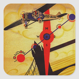 Sabena Art Deco Compass Square Sticker