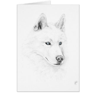 Saber A Siberian Husky Drawing Art Blue Eyes Card
