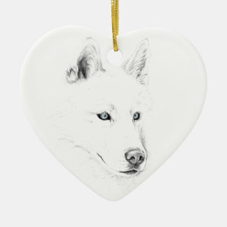 Saber A Siberian Husky Drawing Art Blue Eyes Ceramic Ornament
