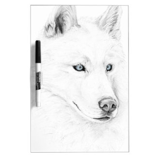 Saber A Siberian Husky Drawing Art Blue Eyes Dry Erase Board