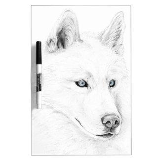 Saber A Siberian Husky Drawing Art Blue Eyes Dry-Erase Board
