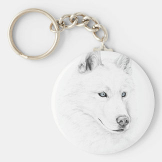 Saber A Siberian Husky Drawing Art Blue Eyes Keychain