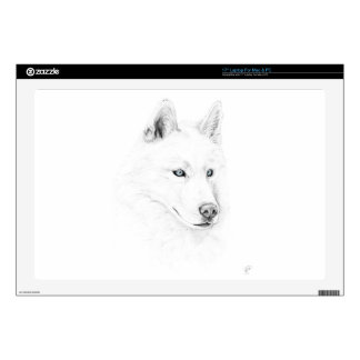 Saber A Siberian Husky Drawing Art Blue Eyes Laptop Decals
