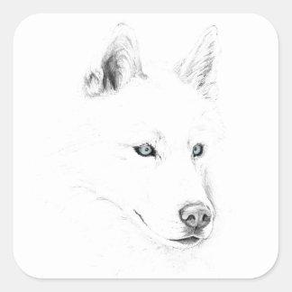 Saber A Siberian Husky Drawing Art Blue Eyes Square Sticker