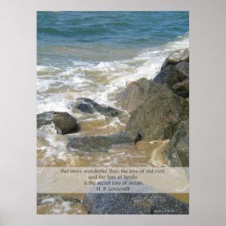 Saber de la cita del océano - escena de la playa d posters