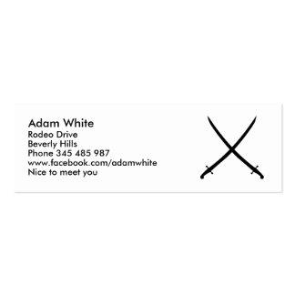 Saber sword crossed mini business card