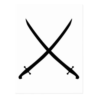 Saber sword crossed postcard