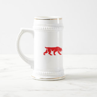Saber Tooth Tiger Cat Silhouette Retro Beer Stein