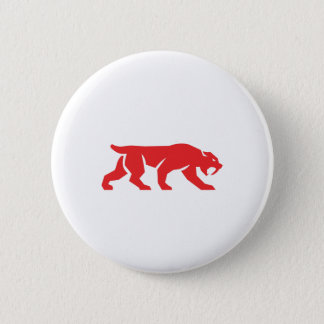 Saber Tooth Tiger Cat Silhouette Retro Button