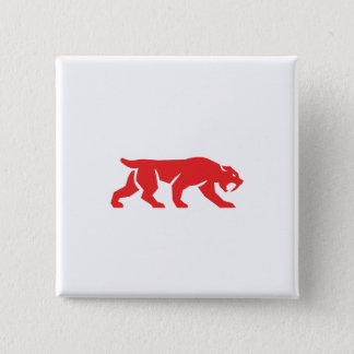 Saber Tooth Tiger Cat Silhouette Retro Pinback Button