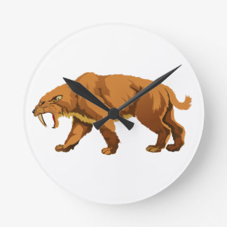 Saber-toothed Cat Round Wall Clocks