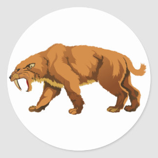 Saber-toothed Cat Round Stickers