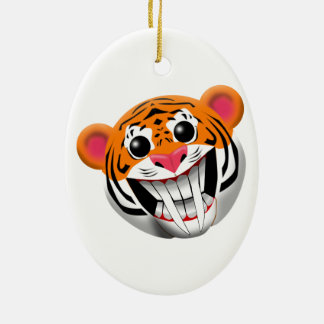 saber-toothed tiger ceramic ornament