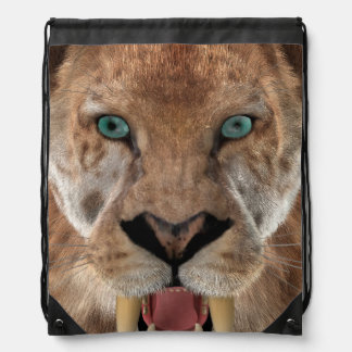 Saber Toothed Ttiger or Smilodon Drawstring Bag
