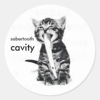 sabercat, sabertooth, cavity classic round sticker