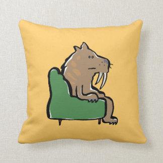 sabertooth cat watching TV Throw Pillow
