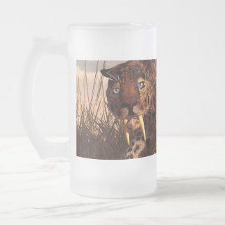 Sabertooth Frosted Glass Beer Mug