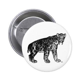 ¡Sabertooth!! Insignia del botón de Smilodon Pin Redondo De 2 Pulgadas