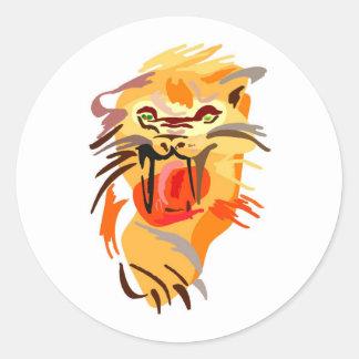 Sabertooth Tiger Art Round Stickers