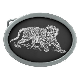 Sabertooth Tiger Oval Belt Buckle