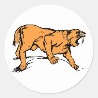 Sabertooth Tiger Round Sticker