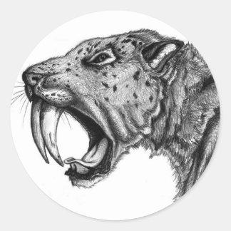 sabertoothPENCIL Classic Round Sticker