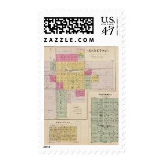 Sabetha, Centralia and Taylor Rapids, Kansas Postage