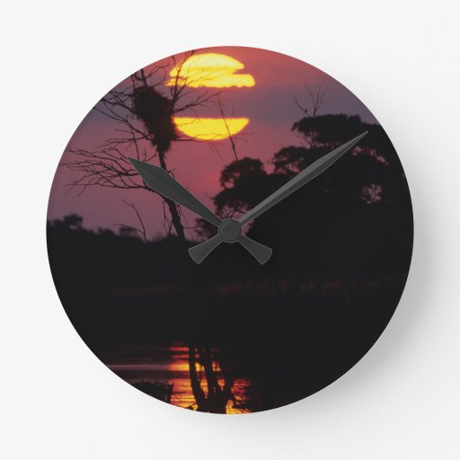 Sabi River At Sunset, Kruger National Park Round Clocks