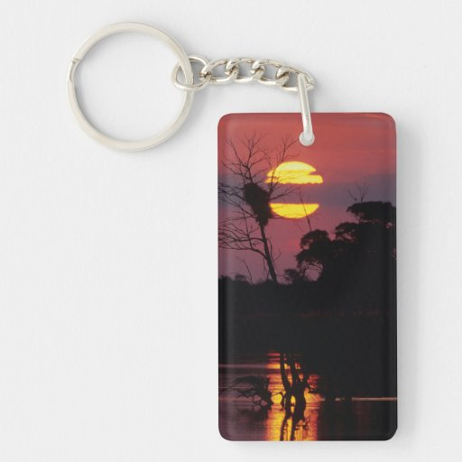 Sabi River At Sunset, Kruger National Park Rectangle Acrylic Keychain