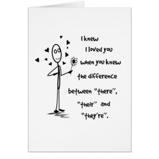 Sabía que le amé gramática - tarjeta de felicitaci