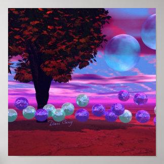 Sabiduría color de rosa y azul del jardín de la bu poster