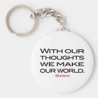 Sabiduría de Buda:  Haga nuestro mundo Llavero Redondo Tipo Pin