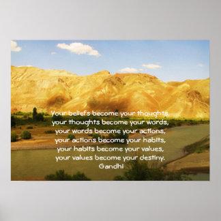 Sabiduría de Gandhi que dice la cita sobre destino Póster