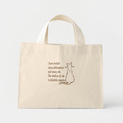 Sabiduría de gatos bolsa de tela pequeña
