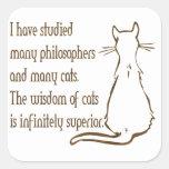 Sabiduría de gatos pegatina cuadrada