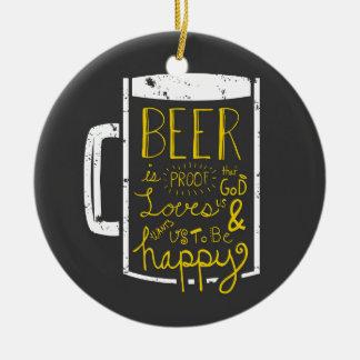 Sabiduría de la cerveza adorno navideño redondo de cerámica