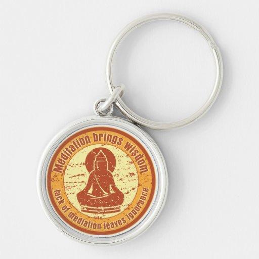 Sabiduría de la meditación de Buda Llavero Redondo Plateado