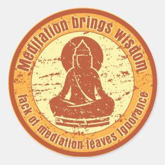 Sabiduría de la meditación de Buda Pegatina Redonda